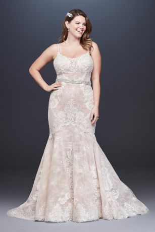 Moonstone Embellished Plus Size Lace Wedding Dress