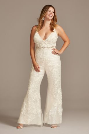 Long Jumpsuit Wedding Dress - Galina Signature