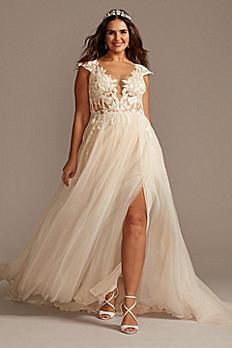 Cap Sleeve Lace Appliqued Plus Size Wedding Dress 9SWG862