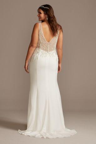 sheer plunge beaded corset plus size wedding dress  david