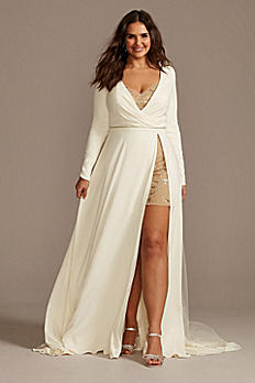 Two Piece Plus Size Wedding Over Dress Romper Set 9SWG869