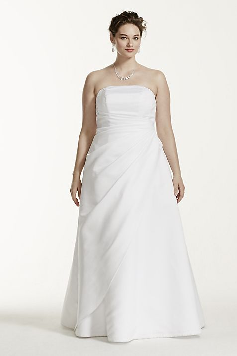 Satin Asymmetrical Skirt Plus Size Wedding Dress | David\'s Bridal