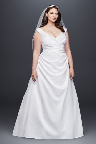 Off-the-Shoulder V-Neck Plus Size Wedding Dress