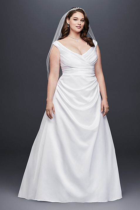 Off The Shoulder V Neck Plus Size Wedding Dress Davids Bridal