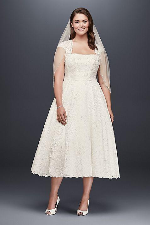 tea length plus size wedding dress with shrug david s bridal
