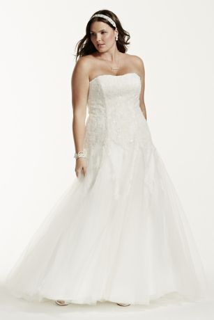 Strapless Tulle Wedding Gown with Beaded Appliques