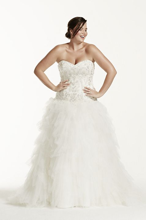 Ruffled Tulle Drop Waist Plus Size Wedding Dress Davids Bridal