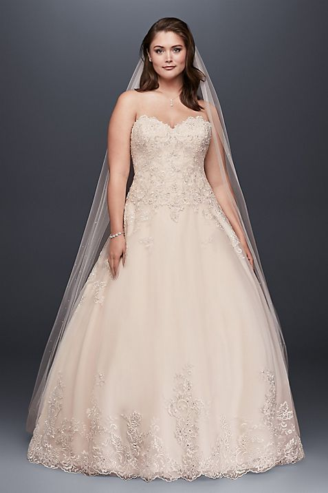 As Is Plus Size Wedding Dress with Beaded Details | David\'s Bridal