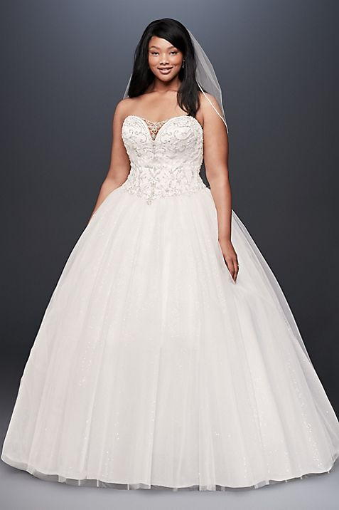 Beaded Illusion Plus Size Ball Gown Wedding Dress | David\'s Bridal