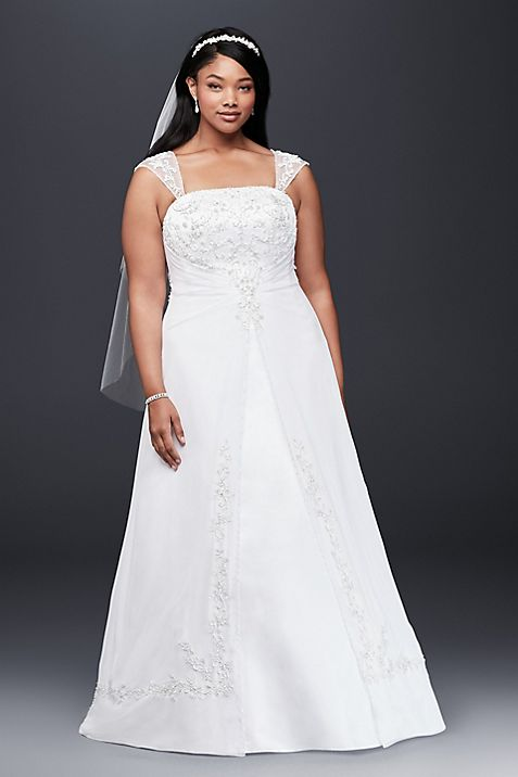 A-Line Plus Size Wedding Dress with Cap Sleeves | David\'s Bridal