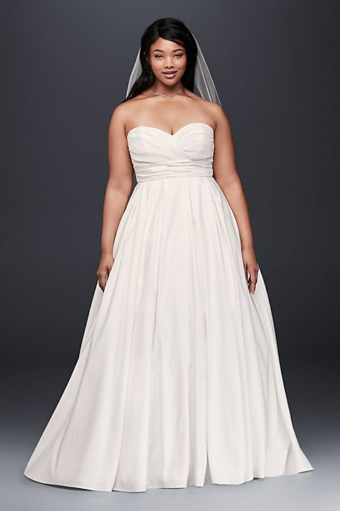 Ruched Empire Waist Plus Size Wedding Dress | David\'s Bridal