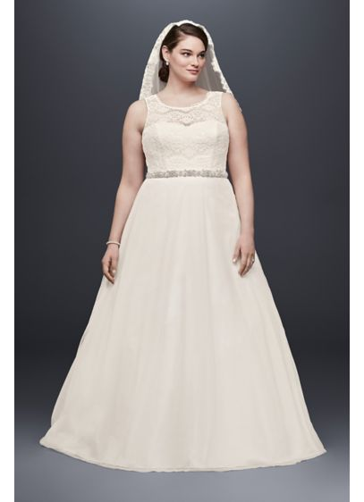 A-line Plus Size Wedding Dress with Tulle Skirt | David\'s Bridal