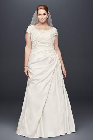Appliqued Gathered Satin Plus Size Wedding Dress