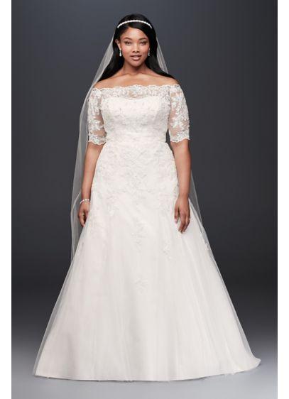 Jewel 3/4 Sleeve Illusion Plus Size Wedding Dress | David\'s Bridal