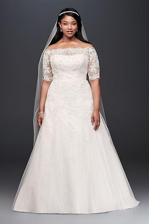 Jewel 3/4 Sleeve Plus Size Wedding Dress | David\'s Bridal