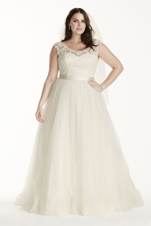 As-Is Tulle Plus Size Cap Sleeve Wedding Dress