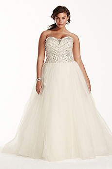 Jewel Tulle Plus Size Wedding Dress with Crystals