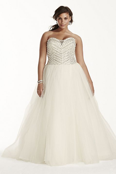Jewel Tulle Plus Size Wedding Dress with Crystals | David\'s Bridal