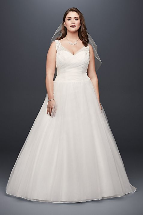 Tulle Plus Size Wedding Dress with Illusion Straps | David\'s Bridal