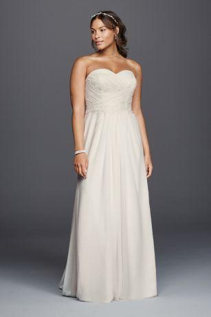 755f7dcd3131 DAVID'S BRIDAL COLLECTION. STRAPLESS CHIFFON SHEATH PLUS SIZE WEDDING DRESS