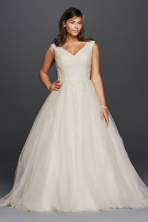 Plus Size Tank Tulle Wedding Dress with Lace | David\'s Bridal