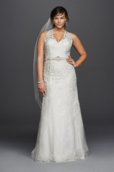 Jewel Lace Plus Size Wedding Dress With Halter