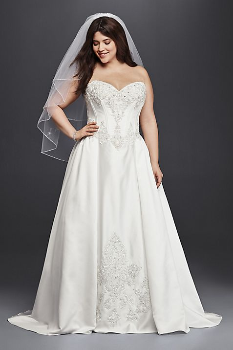 Strapless Satin Plus Size Ball Gown Wedding Dress | David\'s Bridal