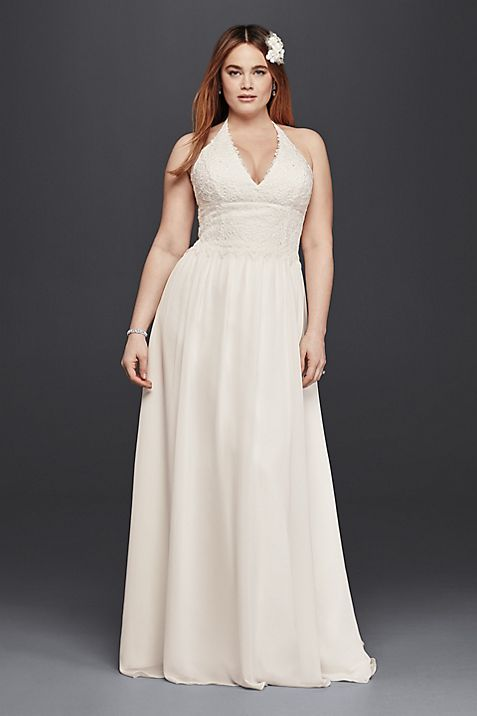 Plus Size Lace Sheath Halter Wedding Dress | David\'s Bridal