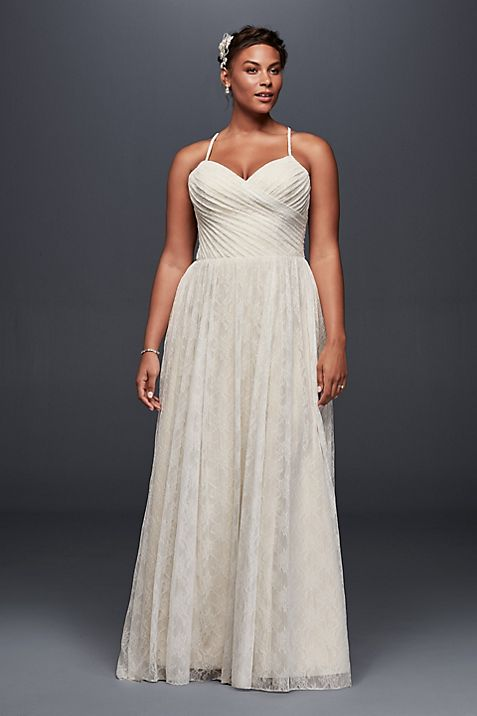 Soft Lace Plus Size Wedding Dress with Pleating | David\'s Bridal