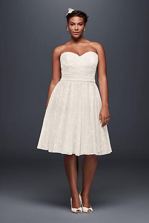 Strapless Lace Plus Size Short Wedding Dress | David\'s Bridal