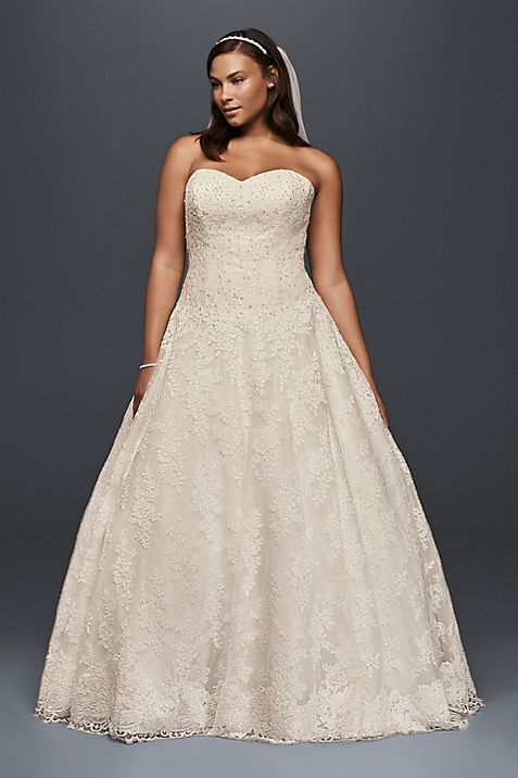 Plus Size Ball Gown with Drop Waist Wedding Dress | David\'s Bridal