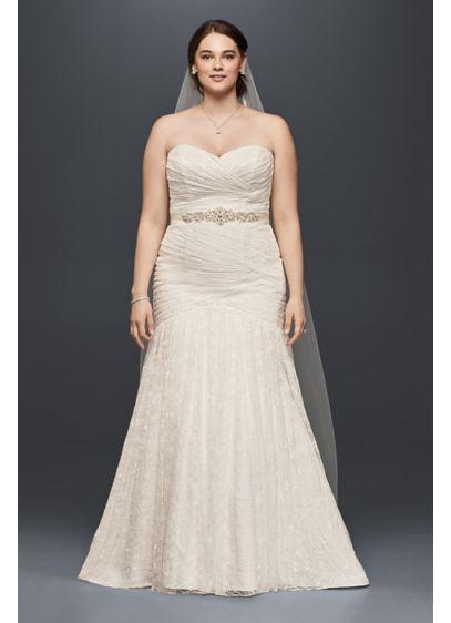 Allover Lace Mermaid Plus Size Wedding Dress Davids Bridal