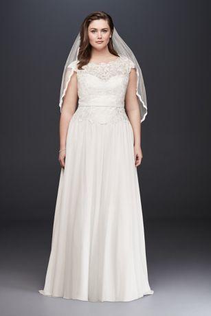Illusion Lace and Chiffon Plus Size Wedding Dress