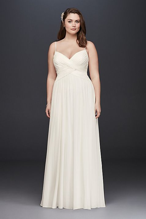 Ruched Bodice Chiffon Plus Size Wedding Dress