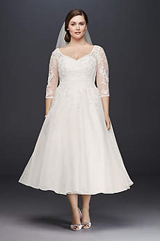 Short A-Line 3/4 Sleeves Dress - David's Bridal Collection