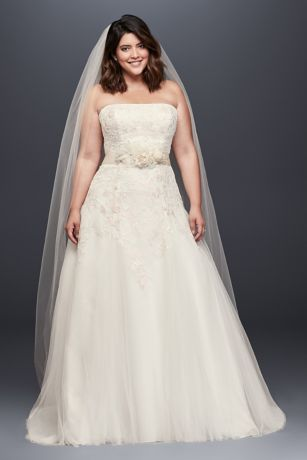 As-Is Appliqued Tulle Plus Size Wedding Dre