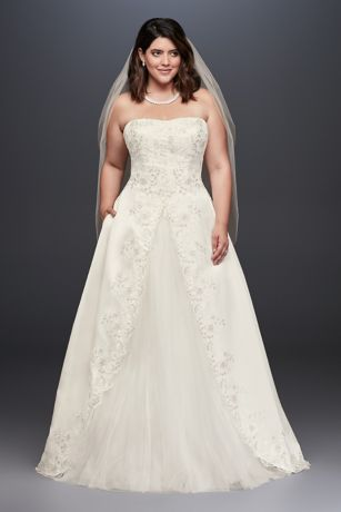 Embroidered Satin Split Plus Size Wedding Dress