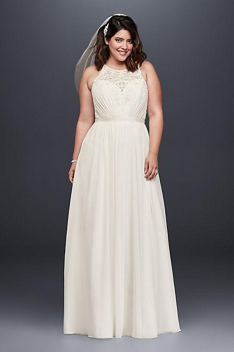 Beaded Chiffon Halter Plus Size Wedding Dress Davids Bridal