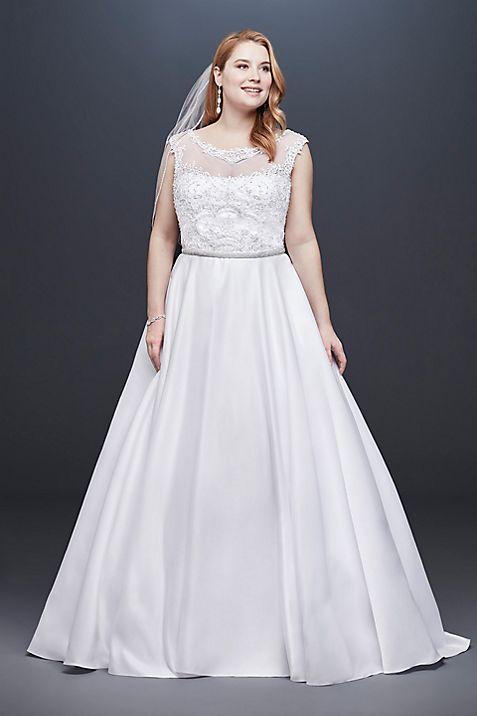 Satin Cap Sleeve Plus Size Ball Gown Wedding Dress | David\'s Bridal