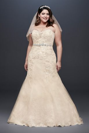 Beaded Lace Plus Size Mermaid Wedding Dress