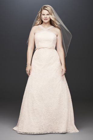 Embroidered Lace Y-Neck Plus Size Wedding Dress