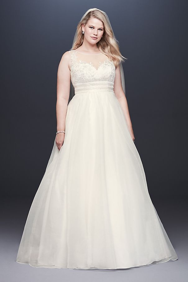 Appliqued Organza A-line Plus Size Wedding Dress 9WG3944
