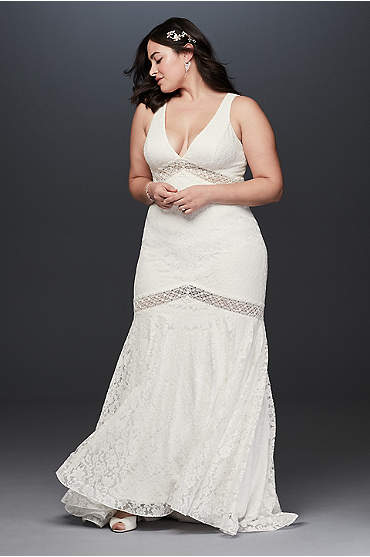 V-Neck Lace Illusion Plus Size Wedding Dress