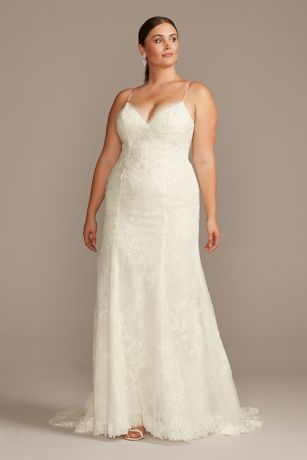 Floral Applique Spaghetti Plus Size Wedding Dress