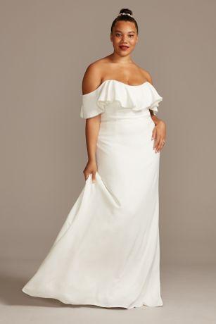 Pearl Trimmed Off-Shoulder Plus Size Wedding Dress
