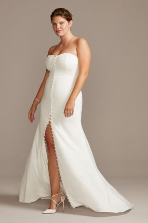 Button Front Strapless Plus Size Wedding Dress