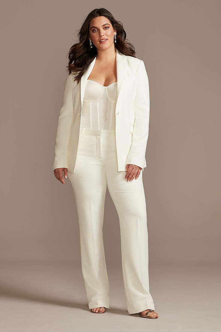 White Wedding Suits Bridal Pantsuits David S Bridal