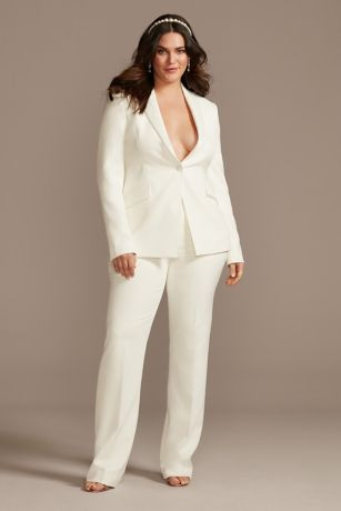 Single Button Relaxed Fit Plus Size Suit Jacket