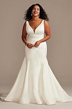 Plunge Mermaid Satin Plus Size Wedding Dress 9WG4016