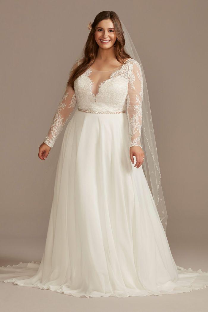 Long Sleeve Plunge Lace Plus Size Wedding Dress